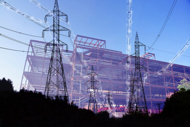 Construction Industry Electrification in Blue - Stock Photography