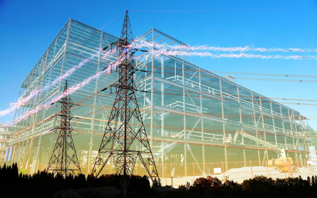 Large Construction Industry Electrification - Stock Photography