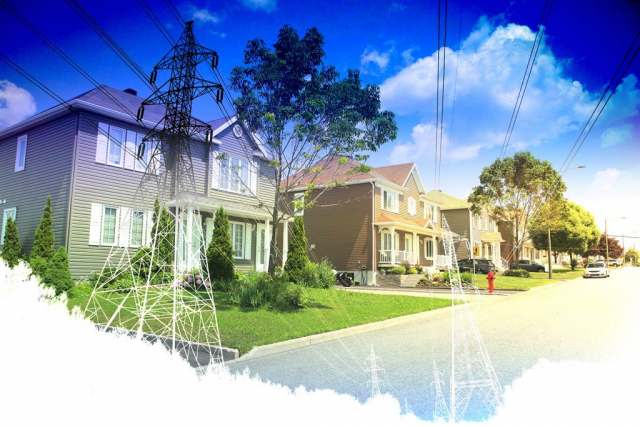 Residential Street Electrification on White - Stock Photography