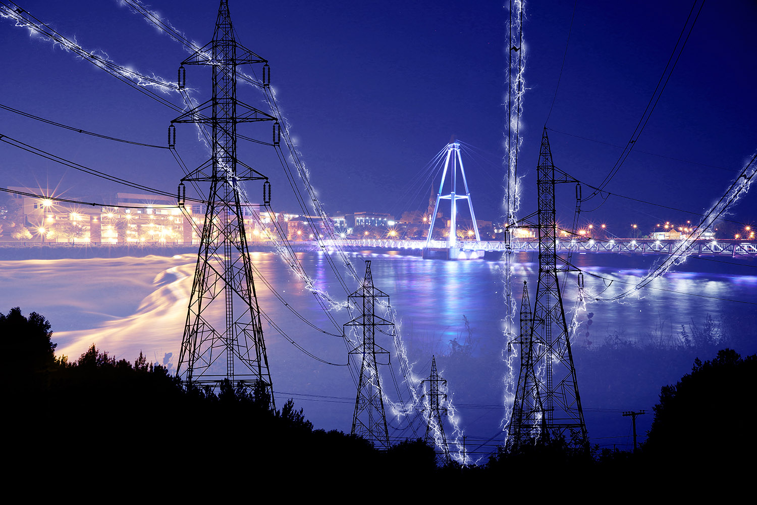 Small Town Electrification at Night in Blue - Stock Photography