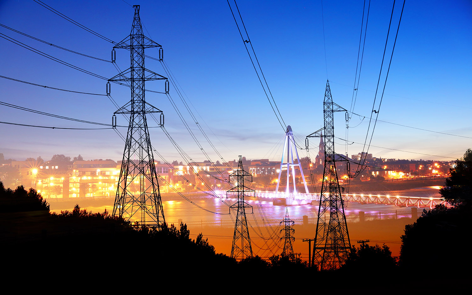 Small Town Electrification at Sunset - Stock Photography