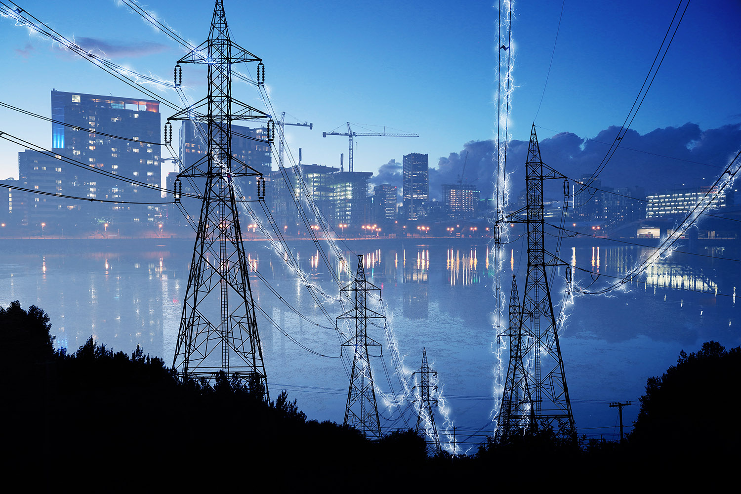 Urban Electrification Concept in Blue - Stock Photography