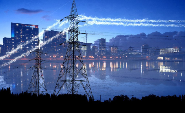 Urban Electrification in Blue - Stock Photography