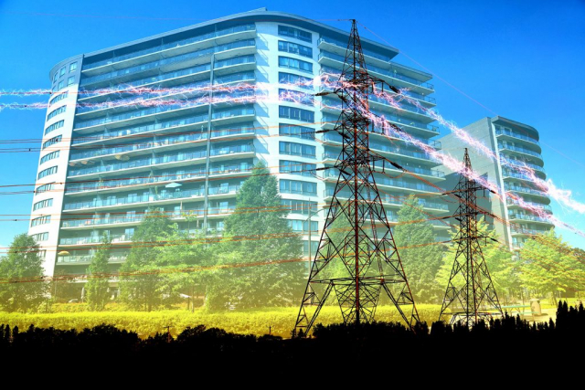 Urban Residential Building Electrification Concept - Stock Photography