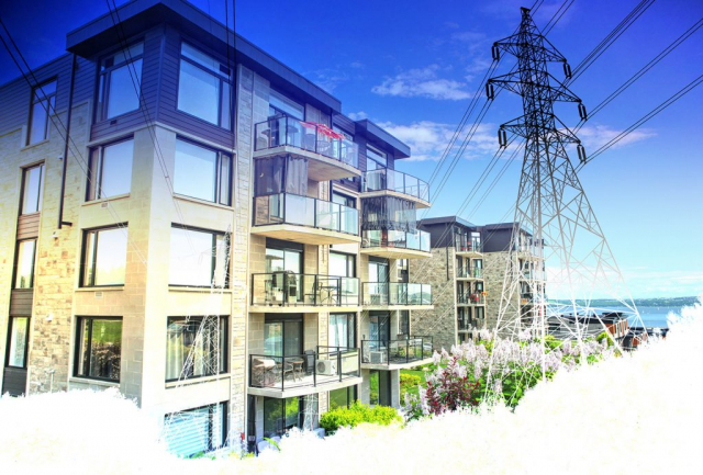 Urban Residential Electrification on White - Stock Photography