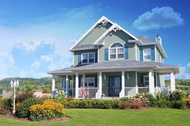 Cozy Modern Pastel Cottage House with Outdoor Flower Arrangement